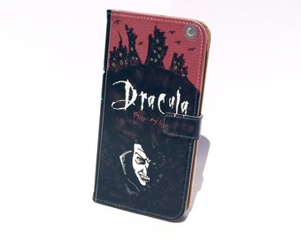 Book phone /iPhone flip Wallet case- Dracula for  iPhone X, 8, 7, 6, 6 7 & 8 plus, 5 5s 5c Samsung Galaxy S9 S8 S7 S6 Note 4 5 7 8 LG, Sony