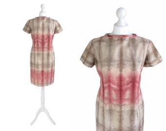 Ombre Dress - Vintage Shift Dress - 90's Dress - Red And Taupe Tie Dye Fitted Dress