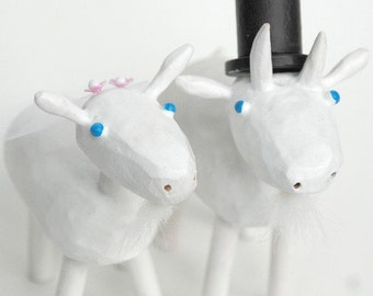 Goat Wedding Cake Toppers | Custom Wedding Cake Toppers | Farm Wedding | Rustic Wedding | Bride and Groom Goats