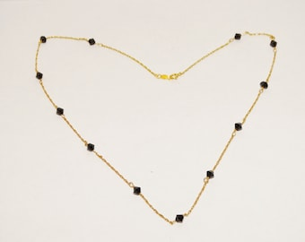 """Vintage 14k yellow gold Faceted Onyx 17"""" Necklace 2.3 grams Necklace."""