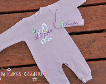 Personalized Baby Girl Sleeper and Hat Set with Applique Letter and Butterfly