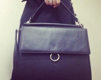 Black Leather handbag, leather tote, italian leather bag, gray leather handbag, black leather bag, black genuine leather bag, Leather bag