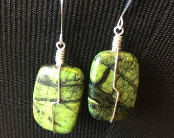 Green Stone Bead Wire-wrapped Earrings