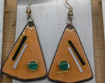 Triangle Earrings Enamel Copper