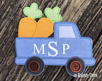 Monogram Easter Patch   Boy's Iron On Easter Patch   Make Your Own Easter Shirt   Blue Truck Monogram Easter  Patch  
