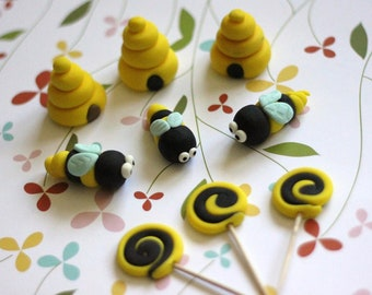 Our EXCLUSIVE fondant bees and beehive toppers.  These fondant toppers are perfect for any occasion.