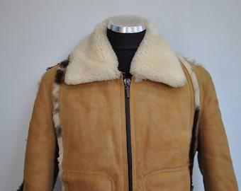 Vintage LAMBSKIN MEN'S fur jacket , men's bomber jacket , shearling men's jacket ..............(457)