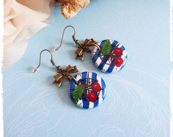 Earrings Cherry pinup polymer clay *.