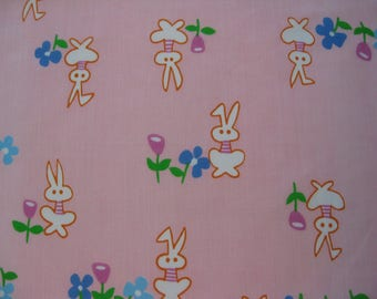 Bunny & Flowers Cotton Blend Fabric - Almost a Yard