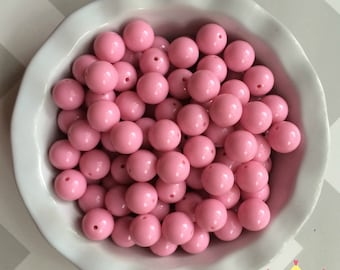 20mm Bright Pale Pink Solid Chunky Bubblegum Beads Set of 10