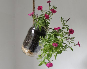 Hanging Mason Jar Planter With Drainage - Upcycled Home & Garden Decor - Quart Sized Ball Jar Herb And Flower Planter - BootsNGus Design