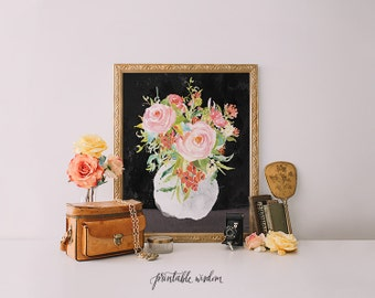 Printable Wisdom Still Life, wall art, wall decor, Art print printable art, still life print, floral print, floral painting print, flowers