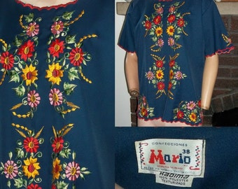 Vintage Mexican Blouse Floral Embroidery Hippie Top L XL