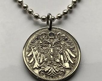 1895 Austria 20 Heller coin pendant Austrian eagle Habsburg Vienna Linz Österreicher Schönbrunn Palace necklace n002610