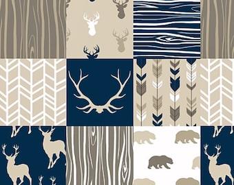 Minky Baby Blanket, Crib Bedding, Deer Bear Arrow Antler Navy Brown Tan, Baby Boy Quilt, Rustic Baby Blanket, Woodland Quilt Patchwork Quilt