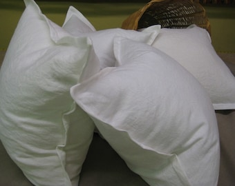 Pair of 22x22 Tailored  Linen Pillow Slipcovers-VINTAGE WHITE