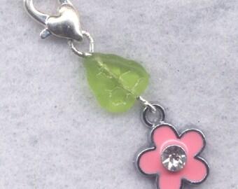 Pink Flower Stitch Marker Clip Enameled Crystal Rhinestone Single /SM208A