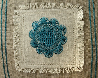 """Flower Folk Style Embroidered 10x10"""" Pillow"""