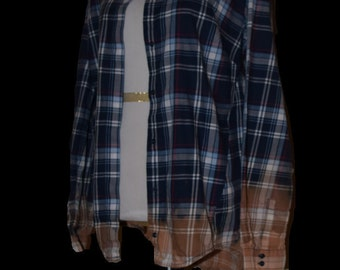 dip dyed flannel, ombre shirt, bleached flannel, distressed shirt