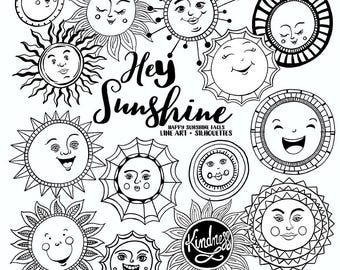 Sunshine Doodle Face Clipart, Summer Sun, Art Journal Digital Stamps, Printable Graphics for Journaling, Planners, Creating Cards, T-shirt