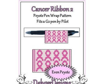 Bead Pattern Peyote(Pen Wrap/Cover)-Cancer Ribbon 2