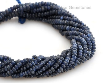 Blue Sapphire Smooth Rondelle Semiprecious Wholesale Gemstone Beads A+ Grade, 2.5-3 mm, 36 cm Strand