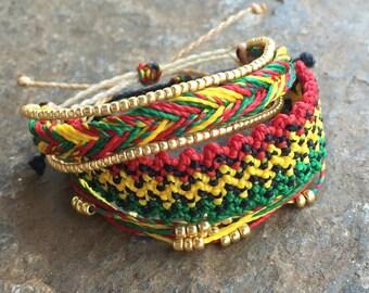 Set of 3 string bracelets, stackable bracelet, wax string bracelet, waterproof bracelet, surfer bracelet - Marley Lover