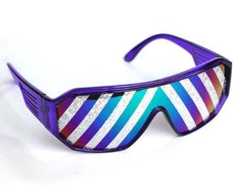 Rasslor Purple Inverted Silver Rays Shield Sunglasses