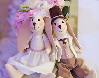 Bride and groom toys  Wedding decor bunny couple   Soft toys bunnys   Wedding gift   Bride groom bunnys    Wedding bunny  Wedding couple