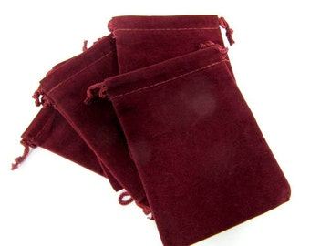 Pouches, Velour Bags, One Dozen, 2 x 2 1/2, Burgundy, Pendant Bags, Supply Bag, Medicine Bags,Treasure, Trinket, Chakra, Stone Bag