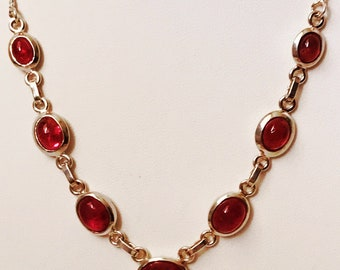 """Sterling Silver and Raspberry Colored Stone Necklace 16"""""""
