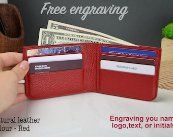 Personalized leather Wallet, Personalized wallet, personalized wallet for women, red leather wallet, leather wallet, mens leather wallet