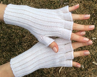 White gloves white fingerless gloves winter wedding gloves white women gloves white wool gloves half finger gloves women knit gloves wedding