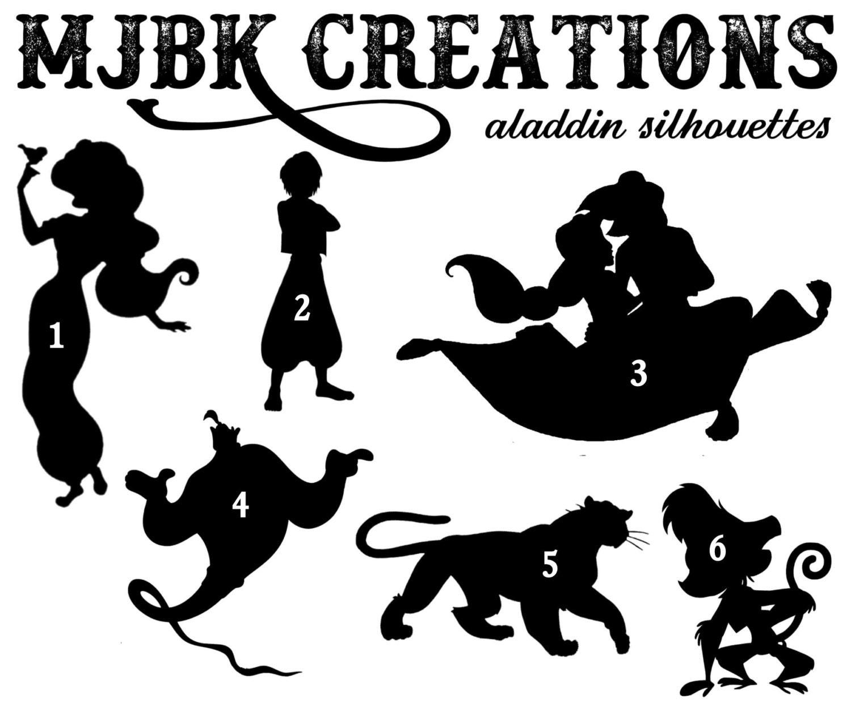 Aladdin Jasmine Genie Abu Magic Carpet Rajah Silhouette Vinyl for Genie Silhouette  288gtk