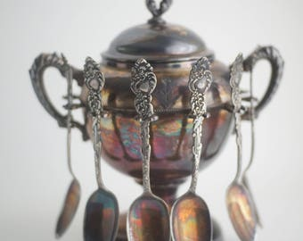 Antique quadruple silver plate sugar bowl with spoon holders, silver plate serving ware, vintage silver spoon