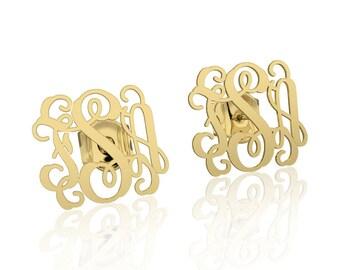 14K Gold Monogram earrings Personalized Name Earrings, letter earrings initial earring, nameplate earring, bridesmaid earrings