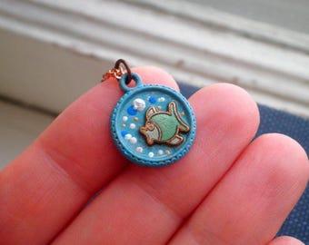 Vintage Enamel Fish Nautical Charm Necklace - Tiny Retro Fish Bowl Beach Chic Summer Vacation Ocean Pendant - Mini Sea Animal Jewelry Gift