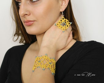 Bracelet Set + tatting lace earrings handmade cotton mustard yellow color perfect for a personalized gift