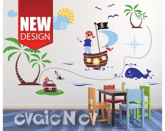 Pirates Wall Decals -  Large Decal set of Pirate on a boat,Treasure Chest withParrot, Compass, Whale - PLPRT010R