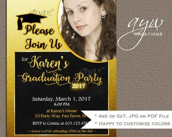 Graduation Party Invitation Printable Invitation Graduation Announcement Photo Card High School Graduation College Graduation Invite