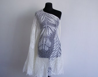 wedding shawl, Mohair shawls and wraps,  Knitted Shawl, hand lace shawl, Wool Shawl, Knitting shawl, womens gift, vintage wedding
