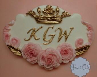 Gold and Pink Princess Fondant  Cake Plaque