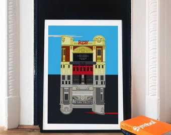 Ritzy Cinema Brixton Art Print - Electric Pavilion Brixton Illustrated poster -  Art of Brixton - London Theatre Prints - Gifts for Londoner