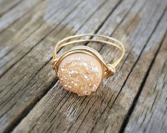 CLEARANCE | Metallic Champagne Peach Round Druzy Ring, 10mm Wrapped with Gold Wire, Titanium Coated Druzy Quartz