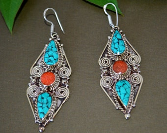Mosaic Turquoise Coral Earrings,Hmong Ethnic Silver,Boho,Nepal Jewelry,Tribal Vintage Earrings,Silver Antique Earrings Afghan Jewelry