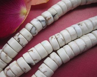 5 str -White Turquoise Howlite Heishi beads 6mm