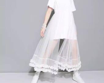 White jersy T shirt lace dress