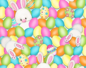 20 % off thru 5/31 HOP TO IT!- bunny rabbits in eggs Henry Glass Easter Fabric by the half yard 6855-21 Simple Shelly quilters cotton
