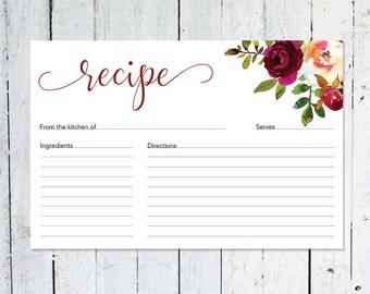 Recipe Cards, Bridal Shower, Boho Recipe Card, Watercolor, Floral, Maroon, Marsala, Burgundy, Printable, Instant Download, Recipe Card