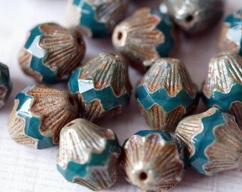 Czech Glass Beads - Emerald Baroque Bicones - Faceted Bicones - Bicone Beads - Opaque Emerald - Bead Soup Beads